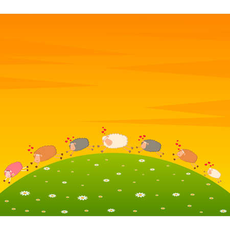 landscape background with cartoon in love sheep pursues after other Vector