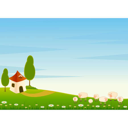 woo: Landscape background with cartoon sheep
