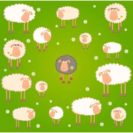 mouton cartoon: Fond de paysage avec cartoon moutons Illustration