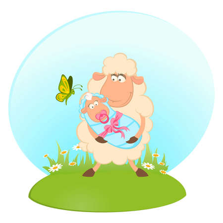 Cartoon smiling sheep mother with infant baby Vector