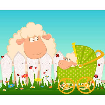 perambulator: Cartoon sorridente pecore con carrozzina scarabocchio