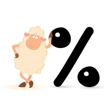 pushes: cartoon sheep with the sign of percent Illustration