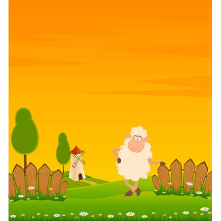 landscape background with cartoon smiling sheep Stock Vector - 8517282