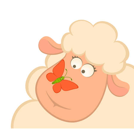 cartoon smiling sheep with butterfly Vector