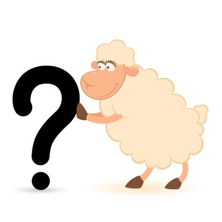 cartoon sheep pushes a question-mark on a white background Stock Vector - 8517223
