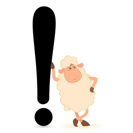 question mark:  Cartoon Schafe dr�ckt ein Ausrufezeichen Illustration