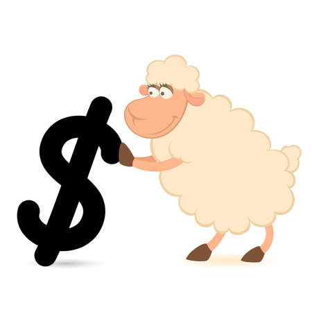 pushes: cartoon sheep with the sign of dollar