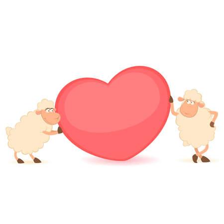cartoon funny sheep holds a heart