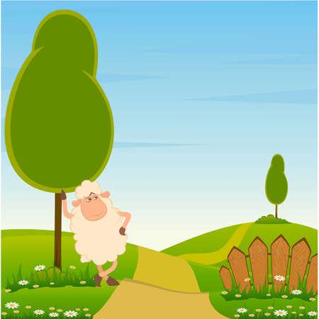 mouton cartoon: fond de paysage avec caricature souriant moutons Illustration