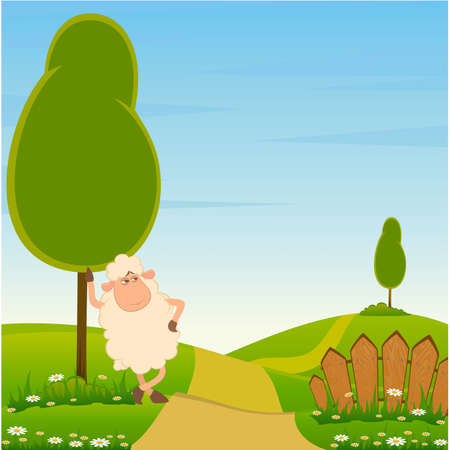 wool sheep: landscape background with cartoon smiling sheep