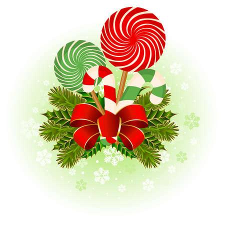 Christmas frame with candy cane decorated. Vektorové ilustrace