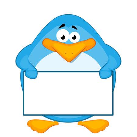 Vector cartoon penguin with baner Vector