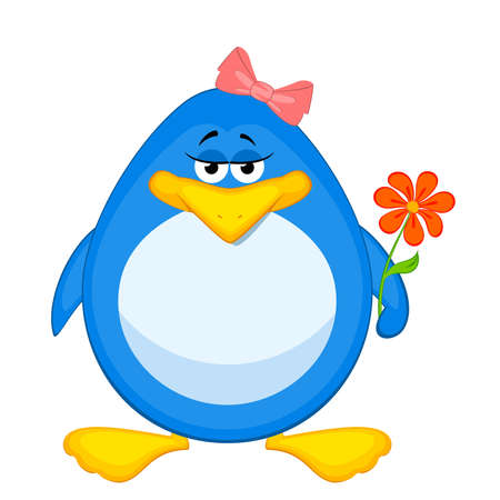 Vector cartoon penguin with flower Vector