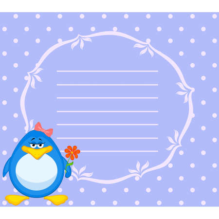 Vector cartoon penguin with flower Stock Vector - 8507374