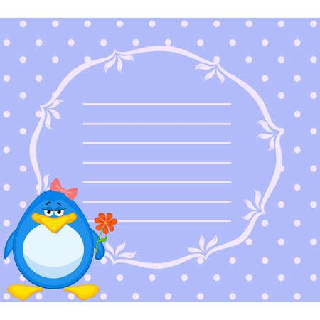 Vector cartoon penguin with flower Stock Vector - 8507374