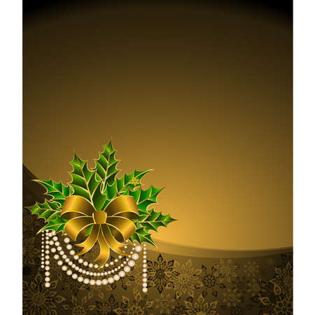 christmas golden bow on a background Stock Vector - 8507429
