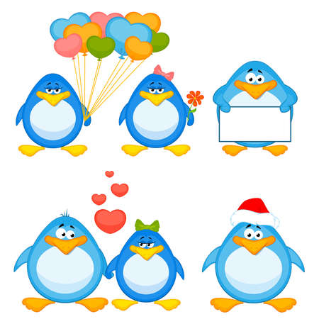 set of cartoon penguins are isolated Vector