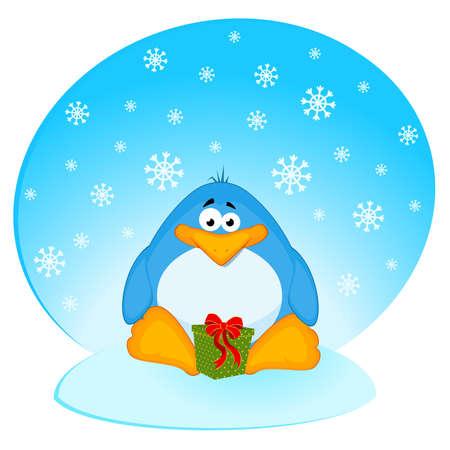 cartoon little penguin with gift Vector