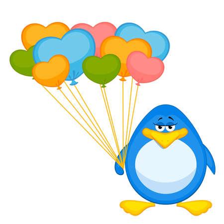 Vector cartoon penguin with balloon Vector