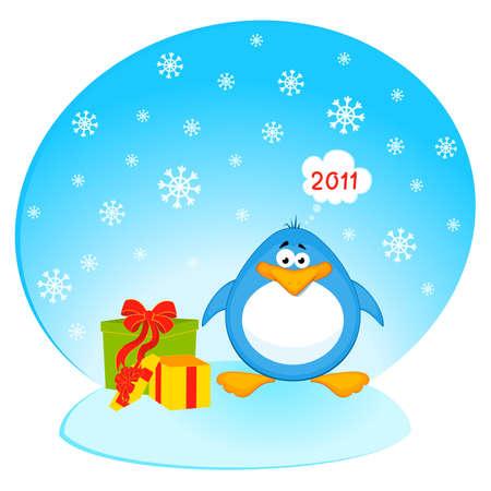Vector cartoon penguin with gifts Vector