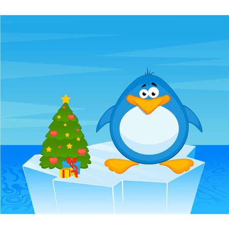 gla�on: Vecteur caricature Pingouin sur un iceberg dans un oc�an