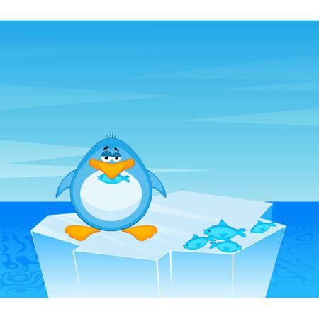 Vector cartoon penguin on an iceberg in an ocean Vector