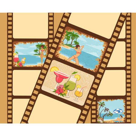 Blank film colorful strip with Beautiful girls on a summer beach Vector