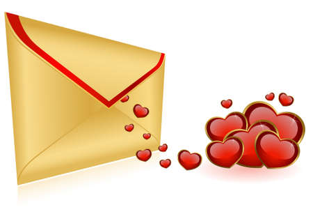 Celebratory envelopes with red hearts Stock Photo - 8556953