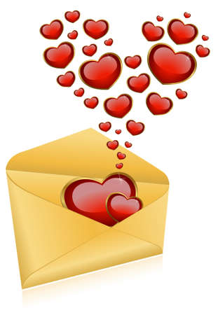 Celebratory envelopes with red hearts Stock Photo - 8556949