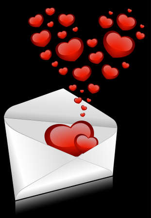 Celebratory envelopes with red hearts Stock Photo - 8556927