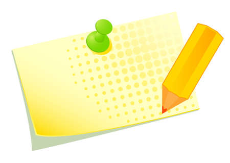 illustration of a yellow sticky with a pencil Stock Illustration - 8607527