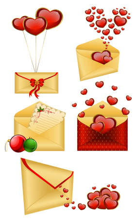 Celebratory envelopes with red hearts Stock Photo - 8607562