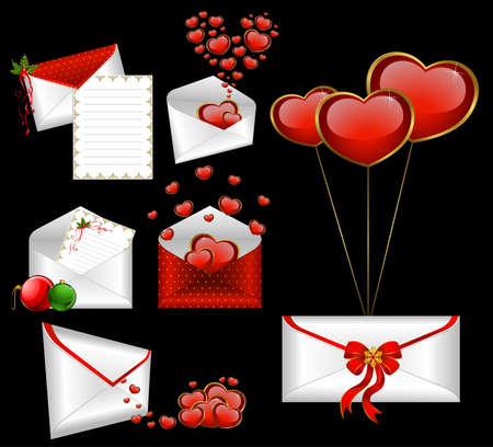 Celebratory envelopes with red hearts Stock Photo - 8607563