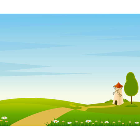 Country landscape background with house and trees Stock Vector - 8607686