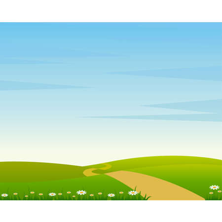 blue sky and fields: Country Landscape with Road  Illustration