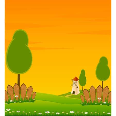 Land landschap achtergrond met huis en bomen