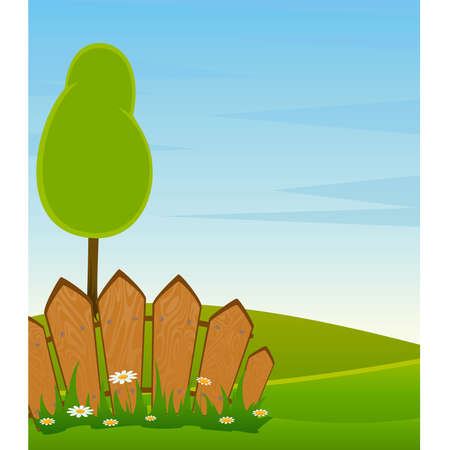 Country Landscape with Trees, Road and Fence Vector