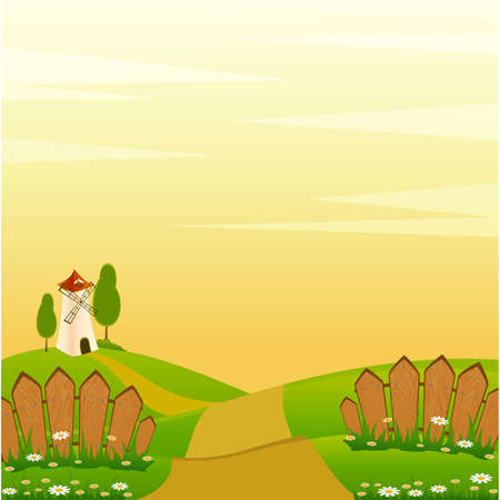 Country landscape background with house and trees Vector