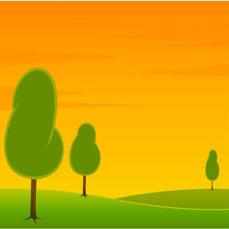 A Country Landscape with Road and Trees Vector