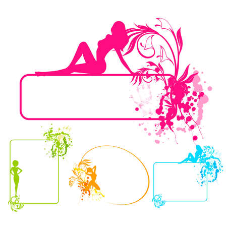 Grunge banner with beautiful girl and blots. Vector. Vector