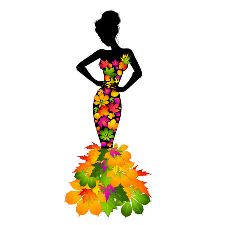 Silhouette of girl in autumnal leaves. Illustration