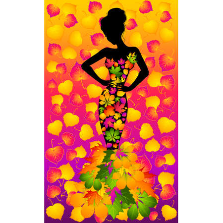 Silhouette of girl in autumnal leaves. Vector