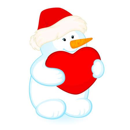 caricature de Bonhomme de neige peu cute avec c?ur