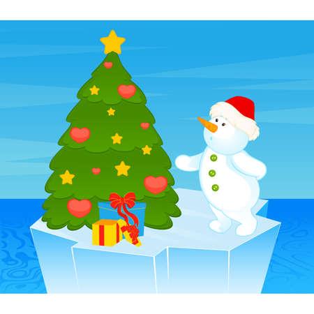 cartoon little cute snowman with fir-tree