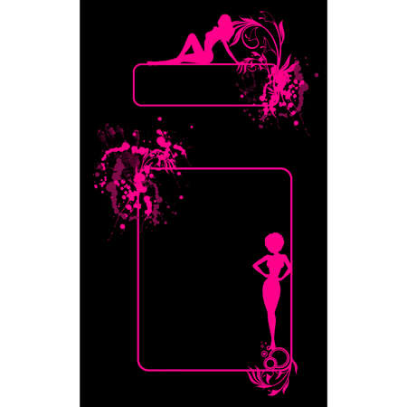 Grunge banner with silhouettes of girls and blots. Vector. Vector