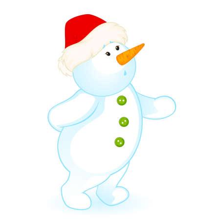 Vecteur cartoon Bonhomme de neige peu cute Vecteurs
