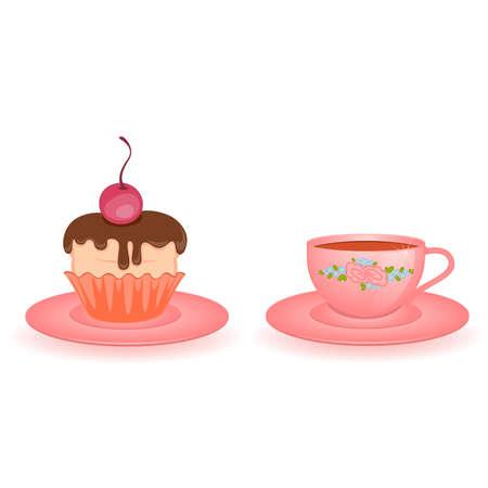 tarde de cafe: Copa hermosa rosa aislada en blanco Vectores
