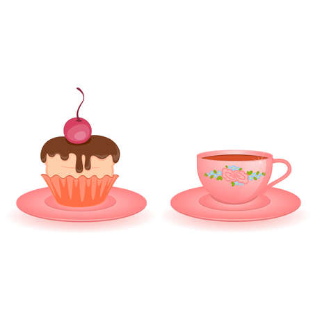 saucer: pink beautiful cup isolated on white