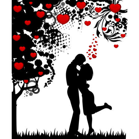 backdrop: silhouette of lovers on a background with heart