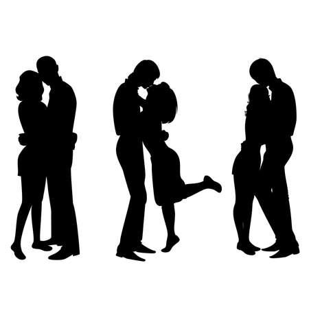 baiser amoureux: la silhouette des amoureux